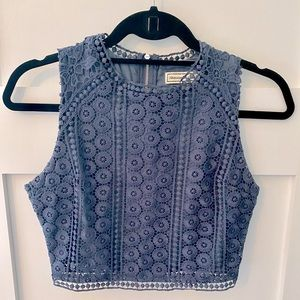 EUC crochet/lace high neck crop top